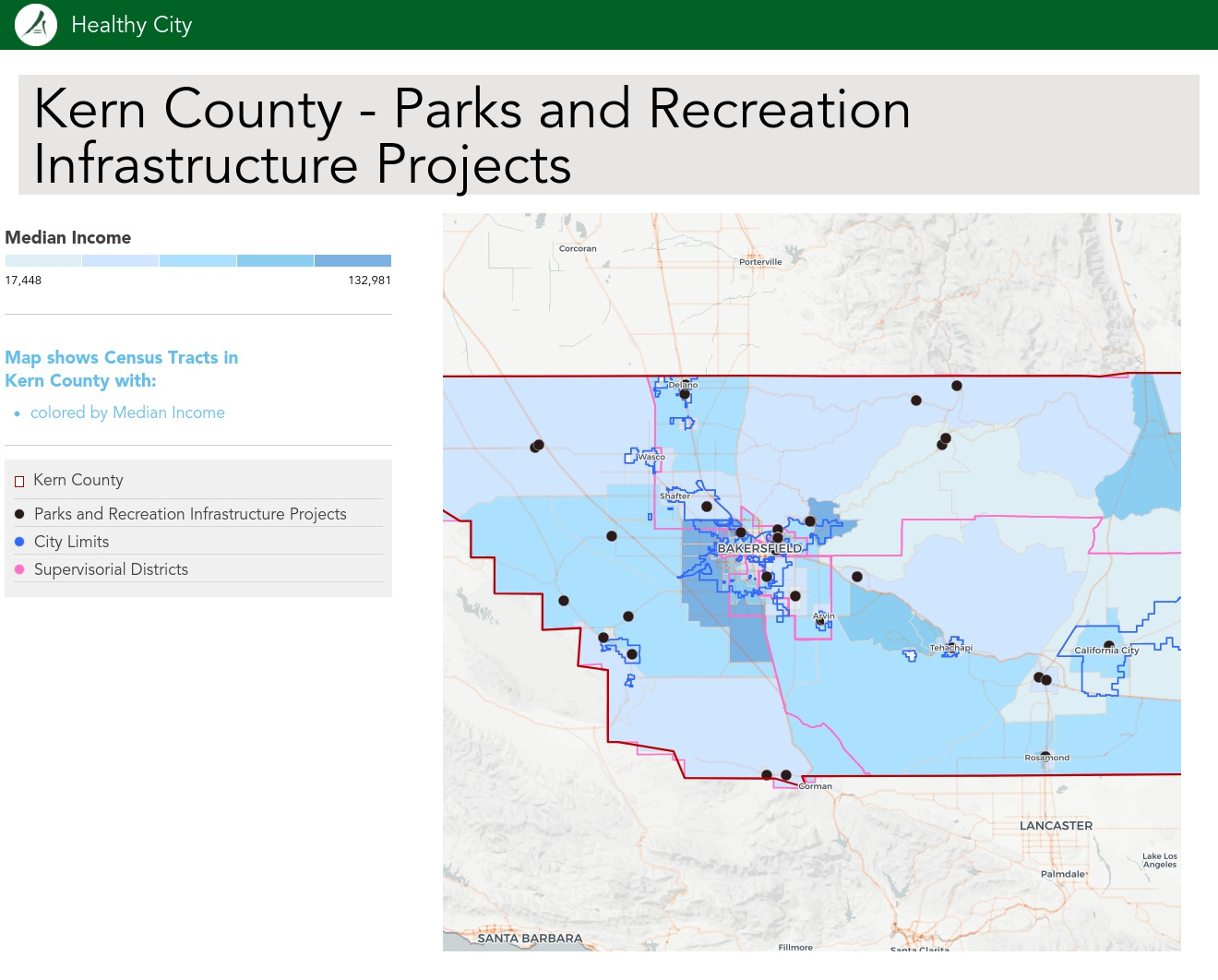 Healthy City Maps - Kern County - Parks and Recreation
